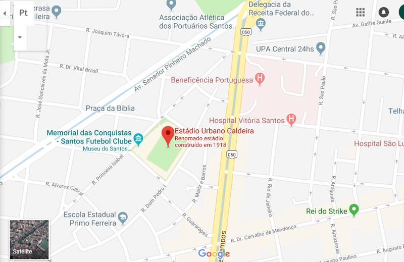 Mapa de acesso ( Ruas e Avenidas ) ao Estádio Vila Belmiro